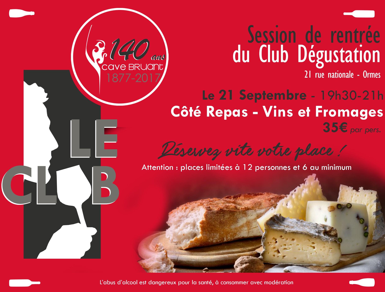 LEs accords Vins et Fromages ay sein du Club Dégustation